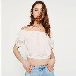 Zara Embroidered Off Shoulder Top